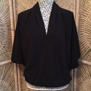 Ramy Brook Black V Neck Kimono Sleeve Blouse